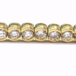 Jewelry - 18KT Round Cut Diamond Bezel Set Tennis Bracelet Y